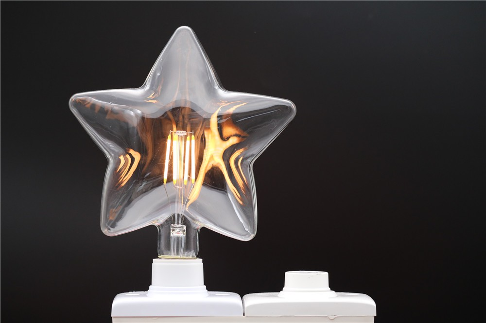 Popular decorative led bulb dimmable filament Carbon Filament Stars Shape