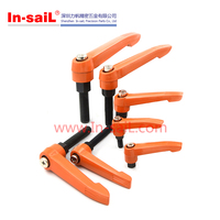 China supplier die cast zinc orange adjustable fixing handle handles and knobs manufacturer