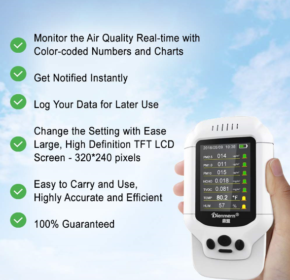 portable air quality monitor PM2.5/HCHO/TVOC/PM1.0/PM10 AQI air detector meter Sri Lanka Maldives
