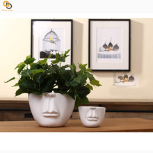 Fashion Human head style modern style ceramic material flower planter pot