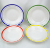 color rim porcelain plate from Linyi China , top quality color band ceramic plate