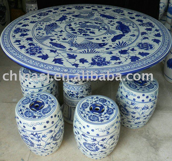 blue and white chinese porcelain garden table stool WRYAY24
