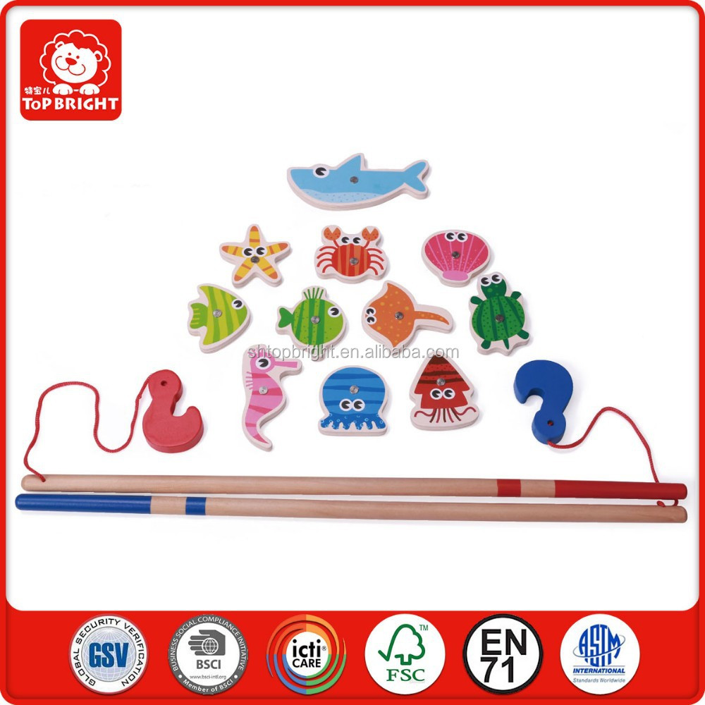 china new innovative product educational toys helps child develop coordination balance 13 pcs wooden sea magnetic fishing game