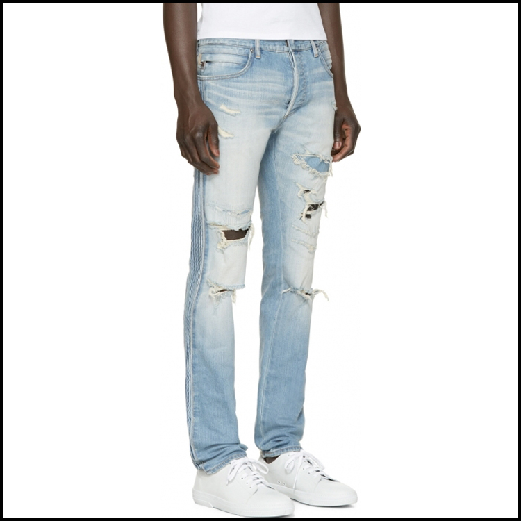 Custom Design Washed Blue Wholesale Men Pants Jeans 2017