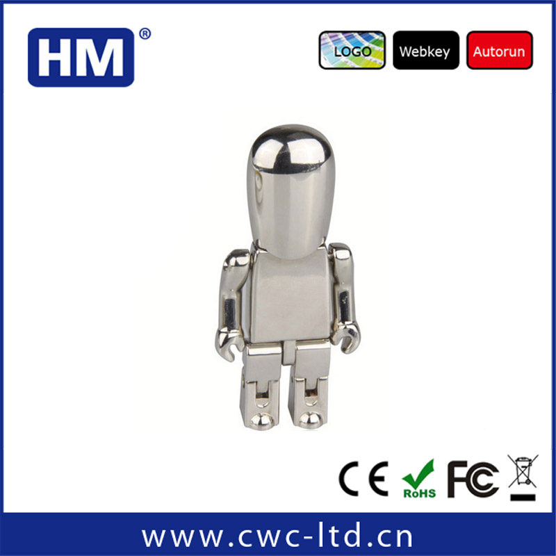 Factory custom metal robot usb flash drive Shining Metal Robot Usb disk,golden robot usb drives