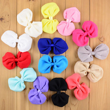 2016 New design!! New Large Floral Chiffon Rosette cheap 10cm long Hair Bows For Girls Women Wholesale 14 colors in stock