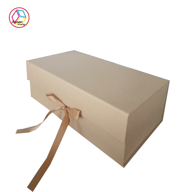 High quality lovely luxury custom handmade empty paper folding gift box with ribbon