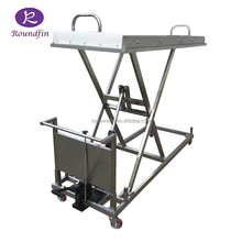 High quality 304 stainless steel funeral morgue hydraulic corpse lifting equipment