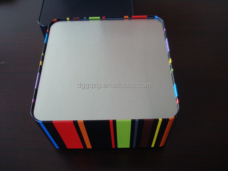 square metal coffee tin