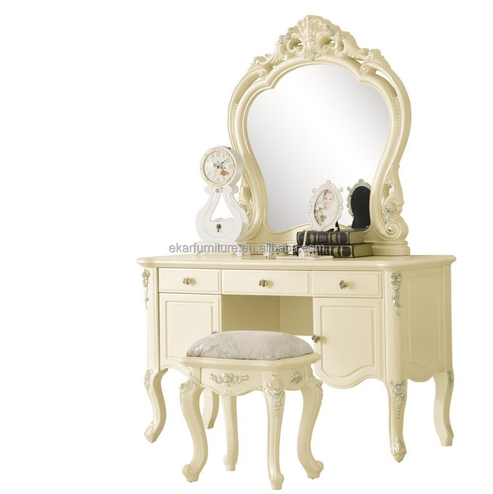 White antique styled furniture vanity dresser with mirror