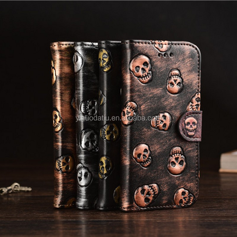 Leather Flip Cover Wallet Cases for iPhone 7 7plus Skeleton Pattern