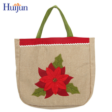 Wholesale cheap Christmas shopping gift jute bag with flower