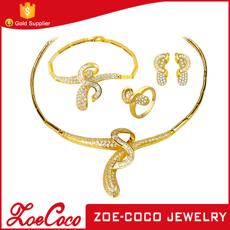 Fashion wholesale african gold plated paved diamond jewelry set 18k gold woman jewelry gold earring/ring