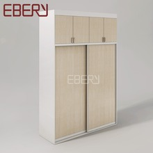 Hot wooden furniture 2 door almirah with 4 door overhead cabinet