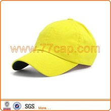 Comfortable washed plain yellow baseball cap no logo