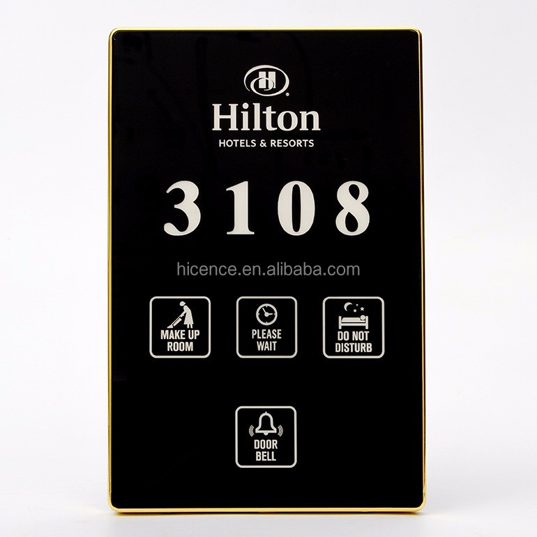 Modern Black Hotel Room Number Signs Plate with different functions