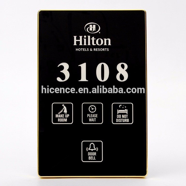 Touch Panel Multi functional Electronic Hotel Room Door Number Plates with DND MUR Bell