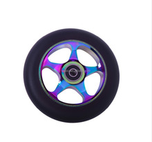 High End Rainbow PU Scooter Alloy Wheel,Metal Core Stunt Kick Scooter Wheels