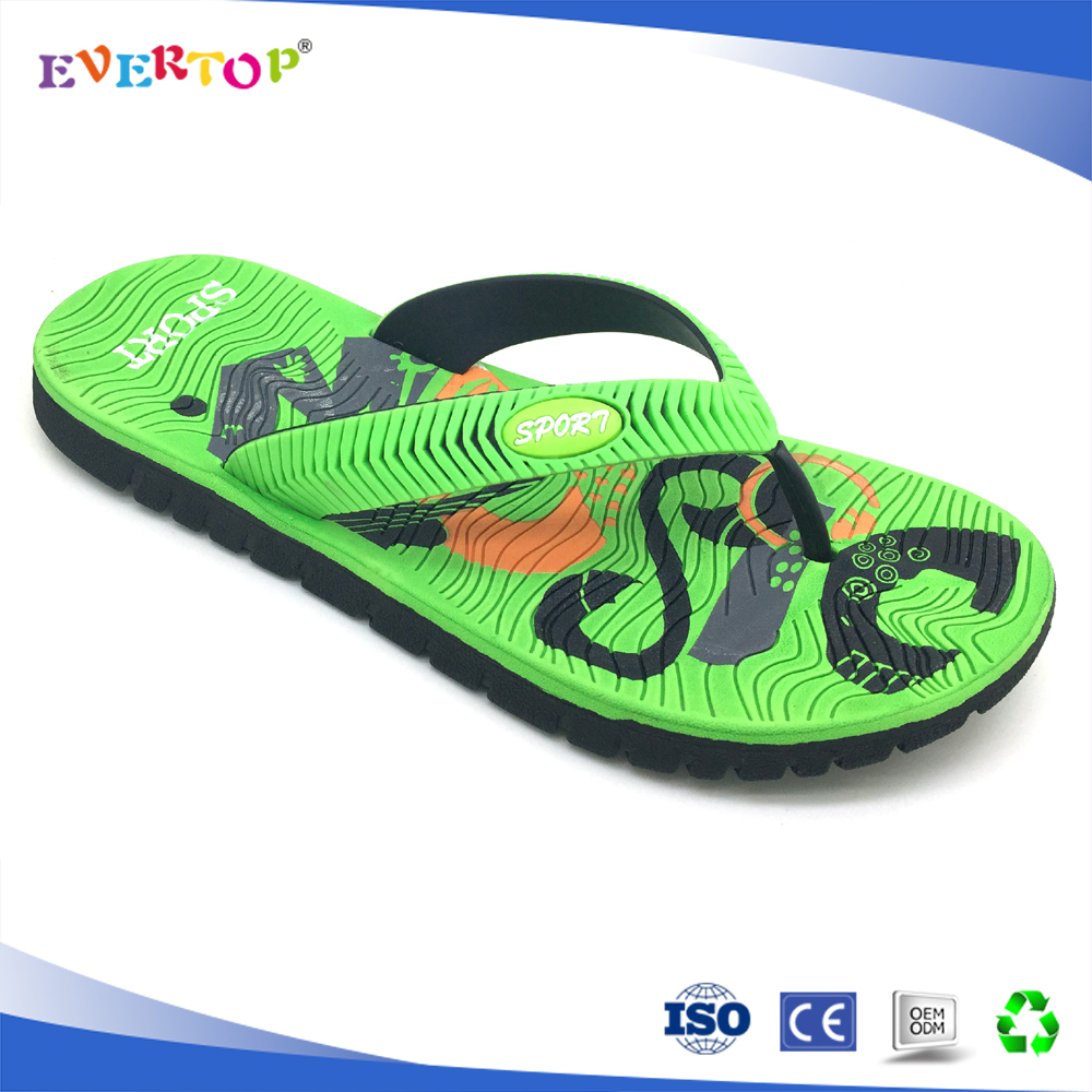 New mould eva injection green color men size pu slipper
