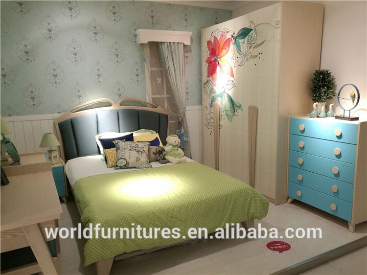 Children bed enviornmental furniture single bed for kids bedroom