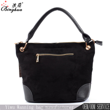 Hot new design fashion women velvet fabric bags handbag with leather handle for wholesale