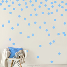 Bule Wall Decal Dots (200 Decals) | Easy to Peel Easy to Stick + Safe on Painted Walls Removable Metallic Vinyl Polka Dot Decal