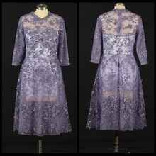Elegant Lace Applique Evening Dress Long Sleeve Prom Dress See Through Formal Occasion Dress