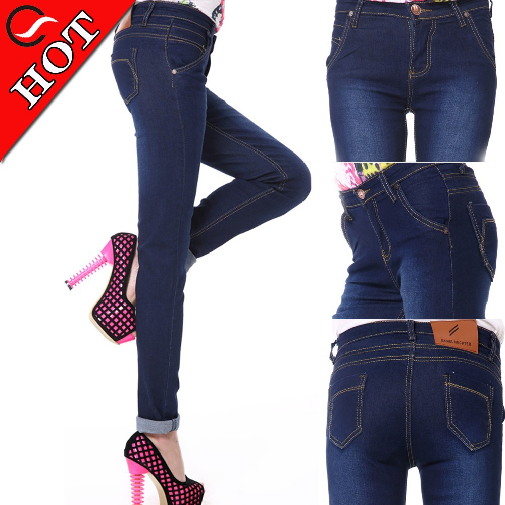Hot Fashion cheap china wholesale women skinny blue jeans