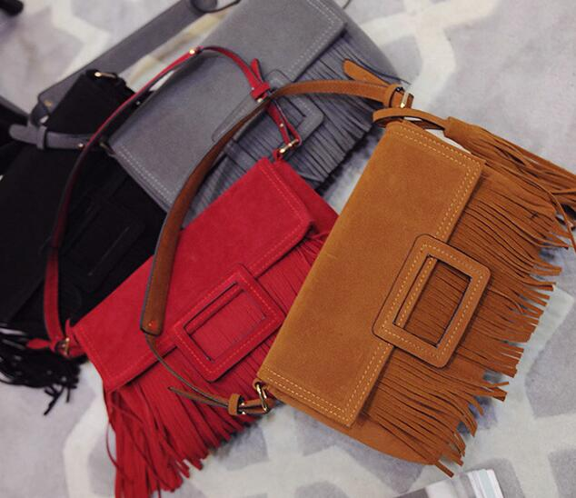 C88557A europea lady fashion suede fringe bag tassels leather bags