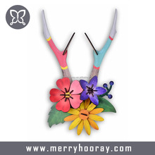 wooden flower deer antler Christmas wall hanging decorations