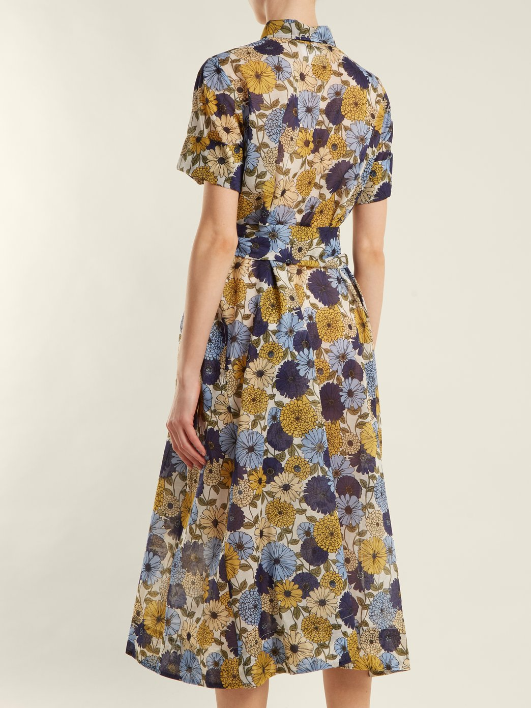 Customized Printed Short Sleeves Midi Shirt Dress