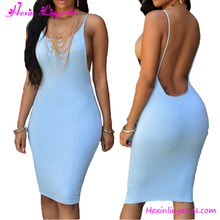 Tight Light Blue Backless Ladies One Piece Evening Sexy Bodycon Dress