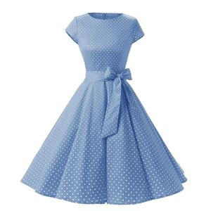 b2009846e4a 4 Colors Polka Dot Vintage Dress Stretch Cotton Round Neck Short Sleeve  Dress
