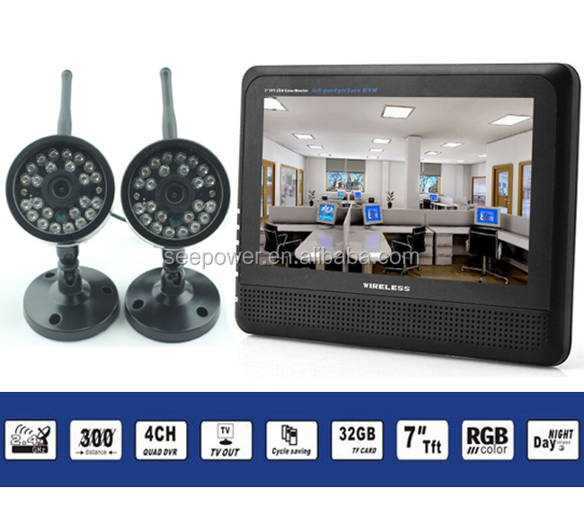 7''full color 4CH quad support 32GB micro SD card battery powered outdoor wireless video security camera
