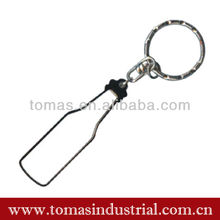 Promotional simple design blank custom logo metal bottle shaped keychain