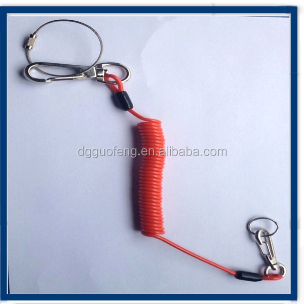 quick release Corrosion resistant CHINA red/ black/yellow/blue Plasitc coated coil lanyard with hook
