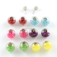 Mixed Polymer Clay Acrylic Rhinestone Double Sided Glass Ball Stud Earrings
