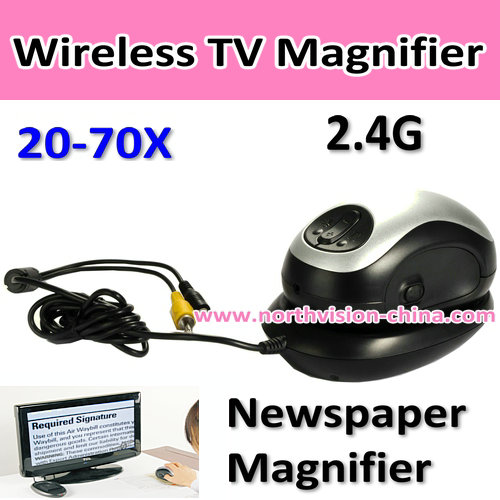 2.4G Wireless TV Magnifier with 20-70X, TV Out, 4 color modes, unique guiding wheel mechanism