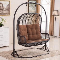 leisure double seat rattan hanging chair indoor swing sofa