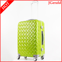 PC ABS Bright green hard shell narrow aluminum metal frame suitcase special luggage