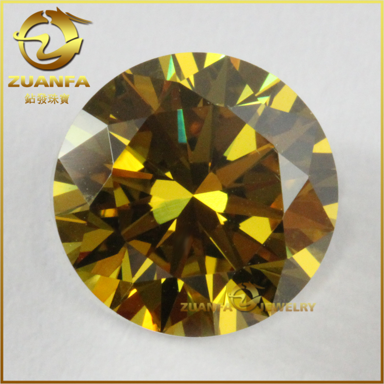 high quality control round brilliant cut aaa grade golden cubic zirconia