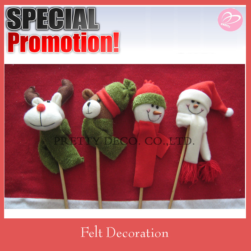 Snowman and deer style felt plush wand, christmas stick
