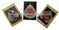 A Set of 3 Eco-friendly Handpainted Dry Peepal Leaf Indian Gods Greeting Cards on Handmade Paper