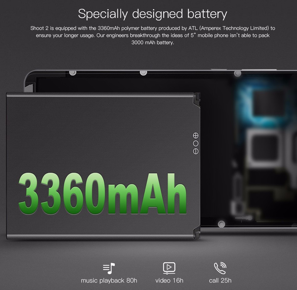 original Doogee Shoot 2 mobile phone 5.0HD 2.5D Android 7.0 MTK6580A 1GB ram 8GB rom cell phone
