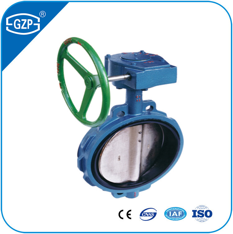Competitive Prices Worm Gear Operation Grey Cast Iron Waer Connection Soft PTFE EPDM Plastic Manual Lever Hand Butterfly Valve