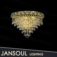 unique antique fancy yellow crystal chandelier glass shell shaped wall lights for hotel room wall decoration