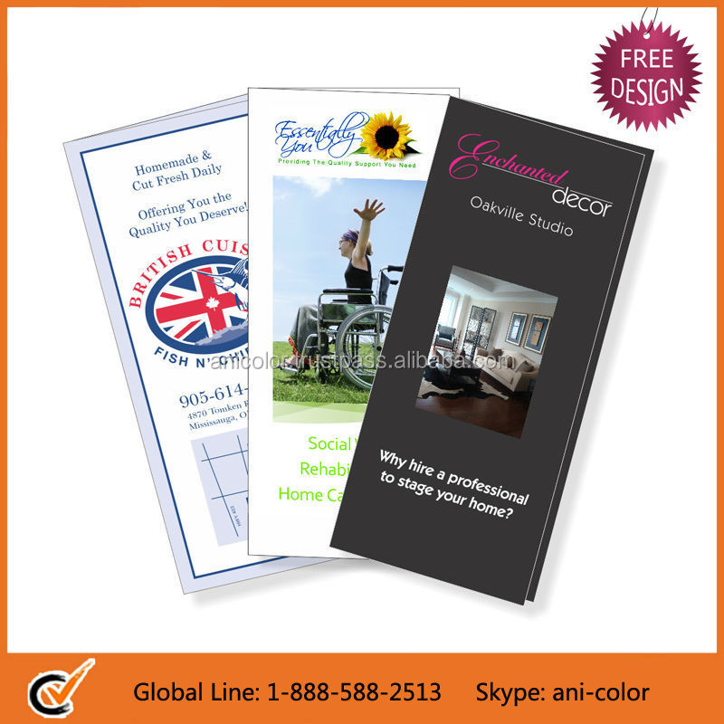 Free Design Portable Folded Paper Brochure Printing
