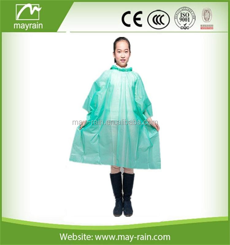 2017 Summer Mayrain Cheapest Promotional Disposable Pe Rain Poncho