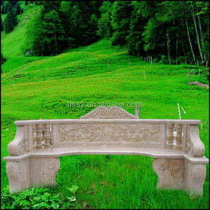 Marble garden sitting carved bench