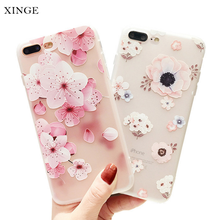 Wholesale Flower Print Soft Silicone Matte Mobile Smart Phone Accessories Case Shell For Iphone 7
